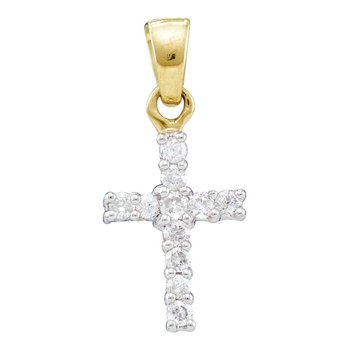 10kt Yellow Gold Womens Round Diamond Dainty Cross Pendant 1/4 Cttw