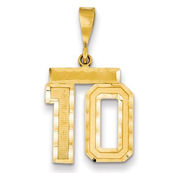 14k Medium Diamond-cut Number 10 Charm