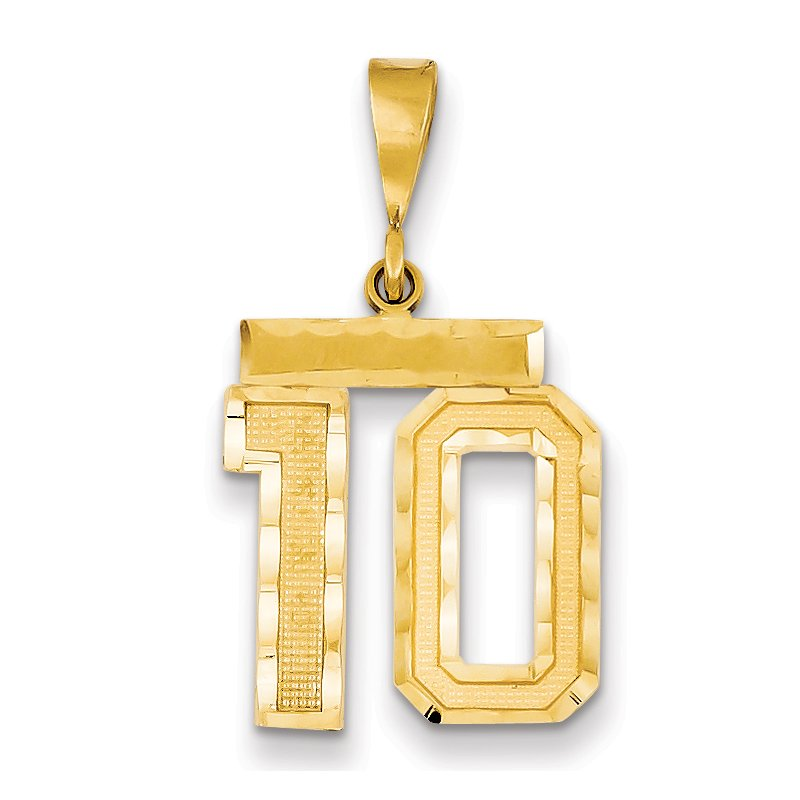 Quality Gold 14k Medium Diamond-cut Number 10 Charm
