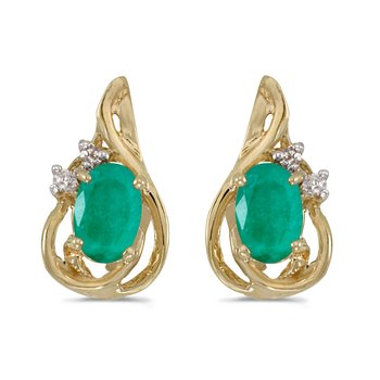 10k Yellow Gold Oval Emerald And Diamond Teardrop Earrings