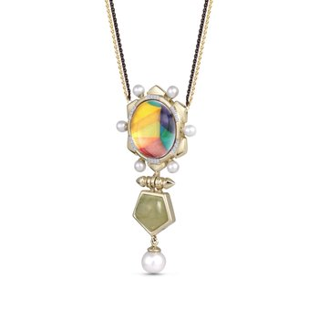 LuvMyJewelry Prehnite & Vibrant Mosaic Gypsy Soul Pearl Necklace in Sterling Silver & 14 KT Yellow Gold Plating