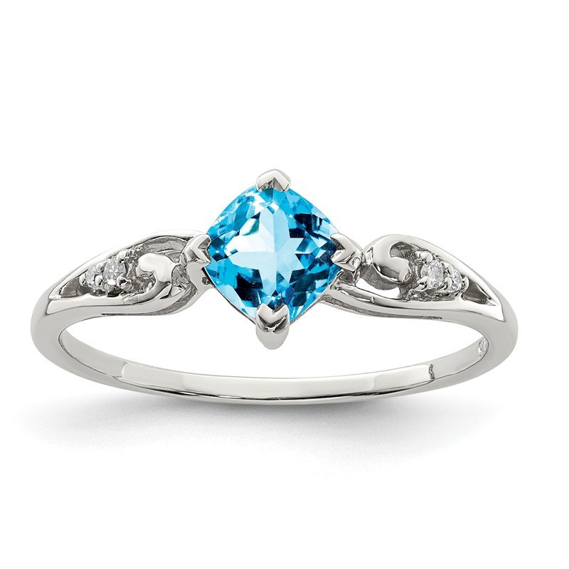 Quality Gold Sterling Silver Rhodium Plated Diamond and Sky Blue Topaz Cushion Ring