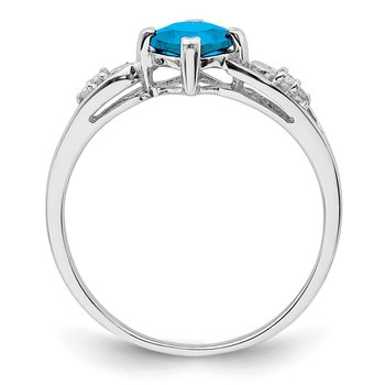 Sterling Silver Rhodium Plated Diamond and Sky Blue Topaz Cushion Ring