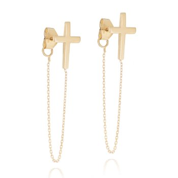 14K Yellow Gold Chain Cross Earrings