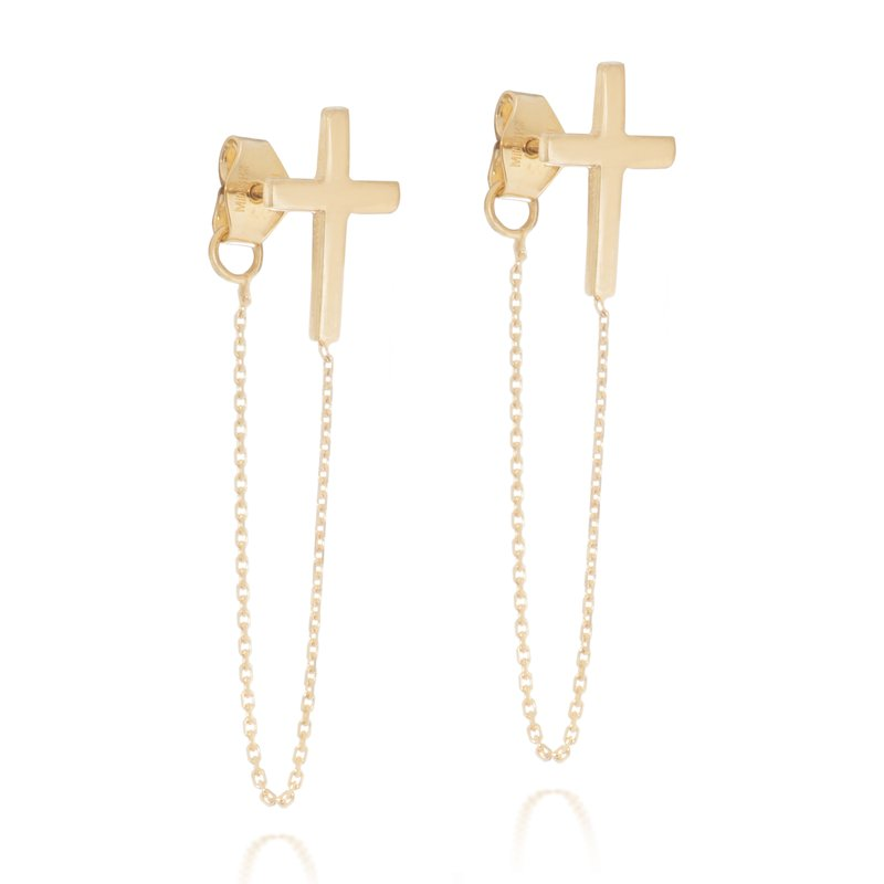 Color Merchants 14K Yellow Gold Chain Cross Earrings