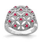 Quality Gold Sterling Silver Rhodium-plated Ruby Circle Ring