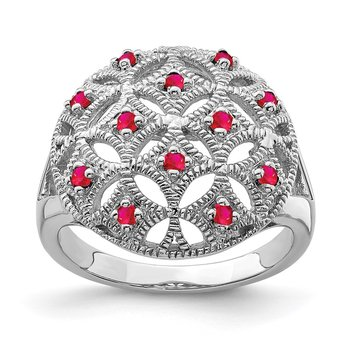 Sterling Silver Rhodium-plated Ruby Circle Ring