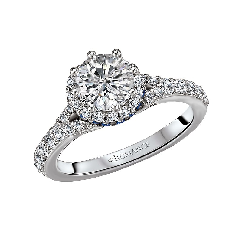 Romance Sapphire and Diamond Semi-Mount Ring