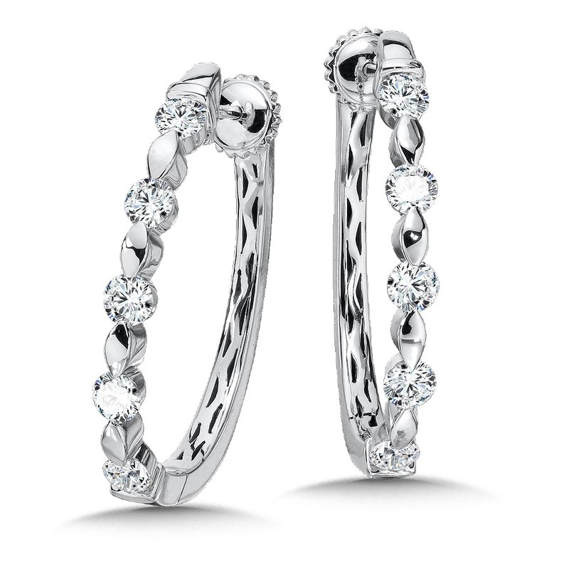 Caro74 Locking Diamond Hoops in 14K White Gold with Platinum Post