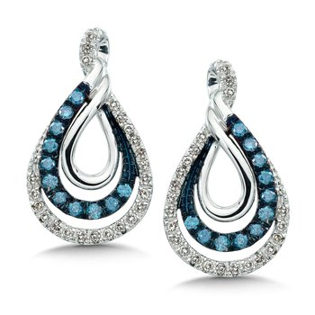 Pave set Blue and White Diamond Entwined Earrings 14k White Gold  (1/2 ct. tw.)