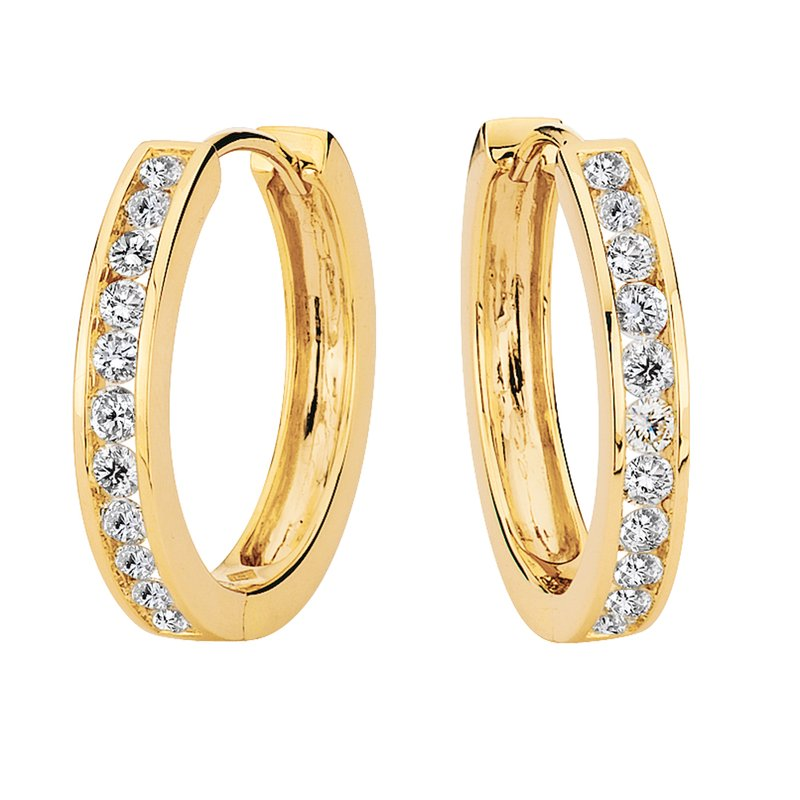 SDC Creations Channel set Diamond Hoops in 14k Yellow Gold (1 ct. tw.) HI/SI2-SI3