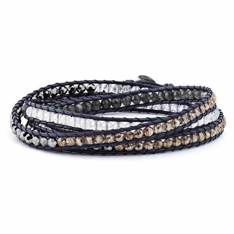 Quality Gold White Jade/Grey Quartz/Multi Crystal/1in ext. Multi-wrap Leather Bracelet