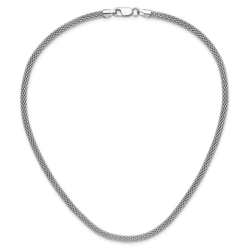 Quality Gold Sterling Silver Rhodium-plated 4.5mm Corona Chain Necklace