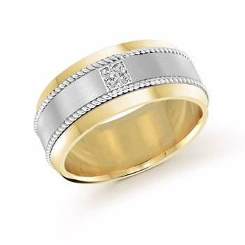 10mm two-tone white and yellow gold band, embelished with 4X0.015CT diamonds