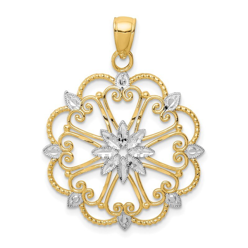 Quality Gold 14K and Rhodium Starburst Pendant