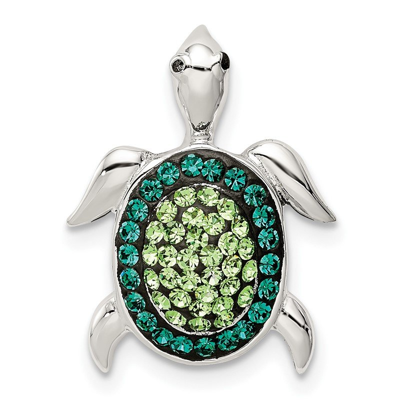 Quality Gold Sterling Silver Green Preciosa Crystal Turtle Pendant