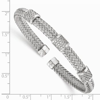 Leslie's Sterling Silver Rhodium-plated CZ Woven Flexible Cuff
