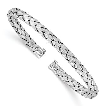 Sterling Silver Rhodium-plated Polished Textured Bangle