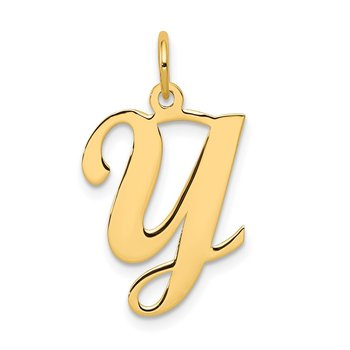 14KY Script Letter Y Initial Charm