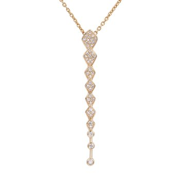 Long diamond pendant  in 14K gold proximate diamond weight 0.25ct
