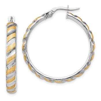 Leslie's 14K White Gold with Yellow Polished Brushed Hoop Earrings