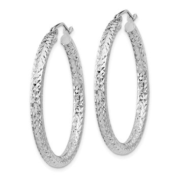 Sterling Silver Rhodium-plated D/C 3x35mm Hoop Earrings