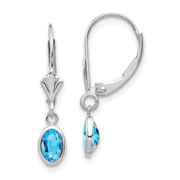 14k White Gold 6x4 Oval Bezel December/Blue Topaz Leverback Earrings