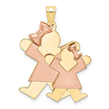 14k Two-Tone Big Girl and Little Girl Engravable Charm