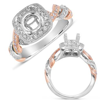 White & Rose Gold Pave Halo RIng