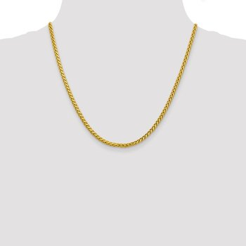 14k 3.1mm Semi-solid D/C Wheat Chain
