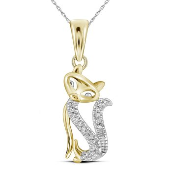 10kt Yellow Gold Womens Round Diamond Kitty Cat Animal Pendant 1/20 Cttw
