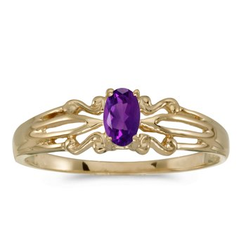 14k Yellow Gold Oval Amethyst Ring