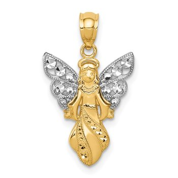 14K W/Rhodium Polished / Textured Angel Pendant