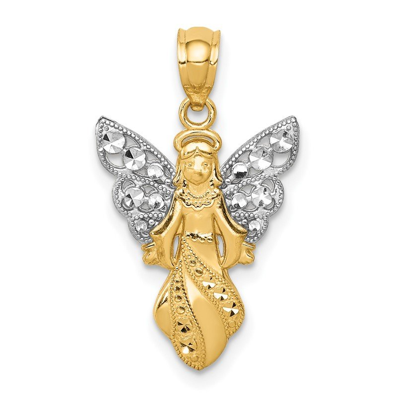 Quality Gold 14K W/Rhodium Polished / Textured Angel Pendant
