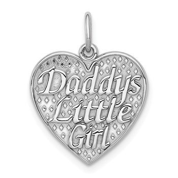 14k White Gold Polished Daddys Little Girl in Heart Charm