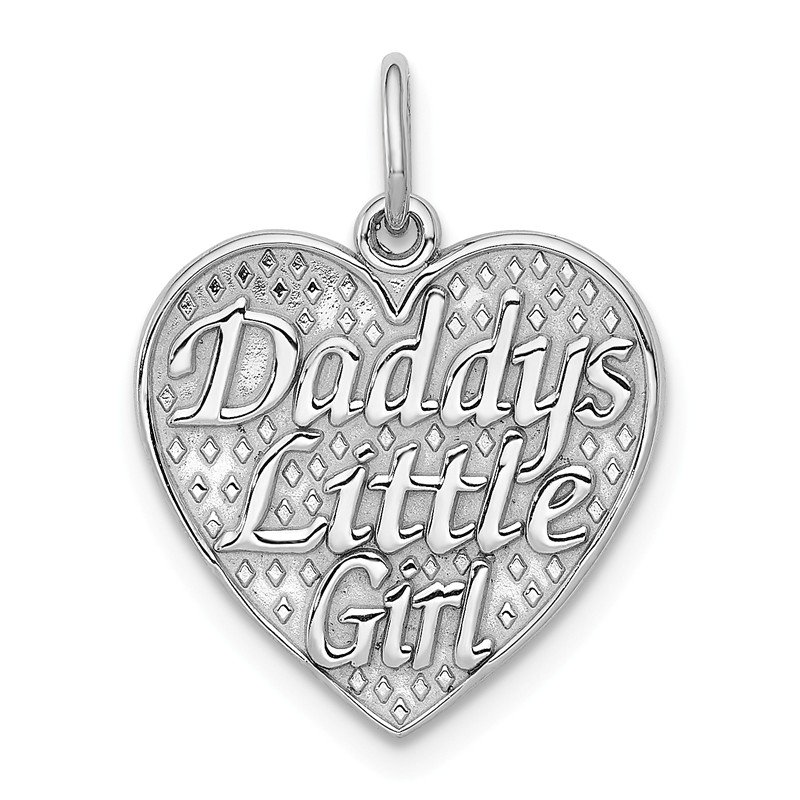 Quality Gold 14k White Gold Polished DADDYS LITTLE GIRL in Heart Charm