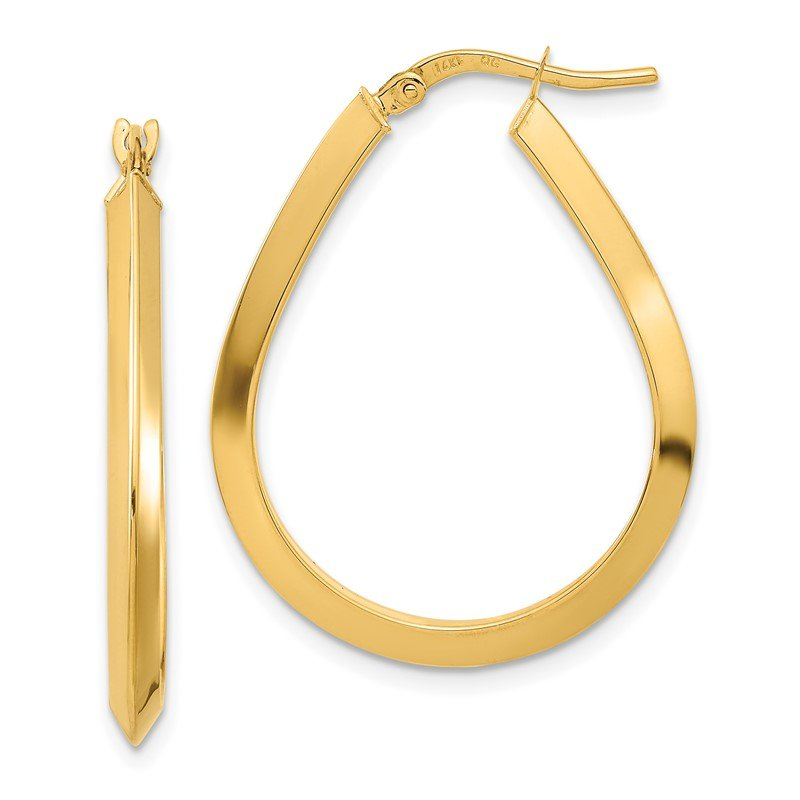 Quality Gold 14k Polished 2.75mm Knife Edge Teardrop Shape Hoop Earrings
