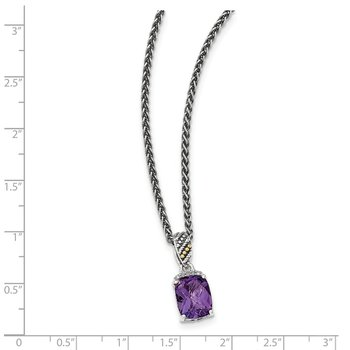 Sterling Silver w/14k Diamond and Amethyst Necklace