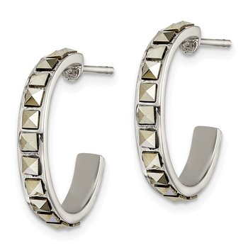 Sterling Silver Square Marcasite 20x3.5 Hoop Post Earrings