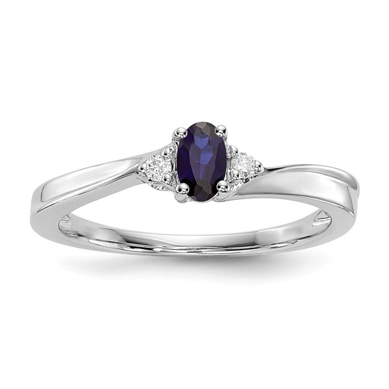 Quality Gold Sterling Silver Rhodium-plated Created Blue Sapphire Birthstone Ring