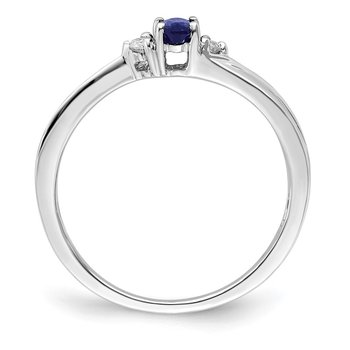 Sterling Silver Rhodium-plated Created Blue Sapphire Birthstone Ring