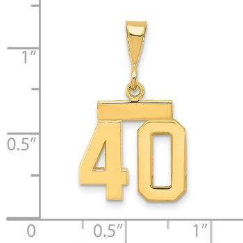 14k Small Polished Number 40 Charm