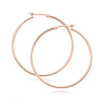 14kt Rose Thin Tube Hoop Earrings