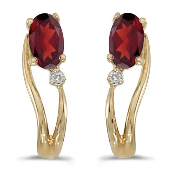 10k Yellow Gold Oval Garnet And Diamond Wave Earrings