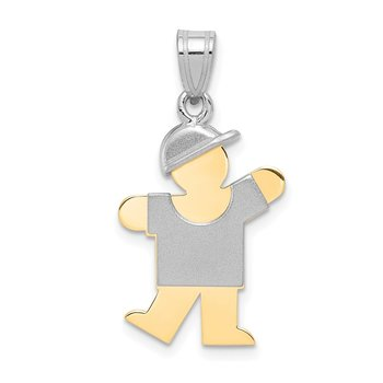 14k Two-Tone Small Boy with Hat on Left Engravable Charm