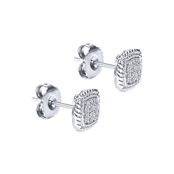 14k White Gold Twisted Cluster Diamond Stud Earrings