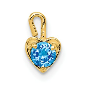14ky December Synthetic Birthstone Heart Charm
