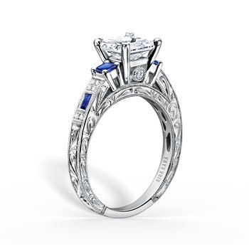 Engraved Three Stone Blue Sapphire Diamond Engagement Ring