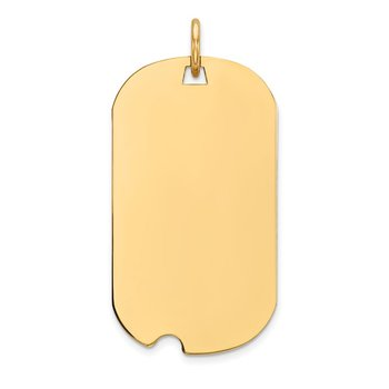 14k Plain .009 Gauge Engraveable Dog Tag w/Notch Disc Charm