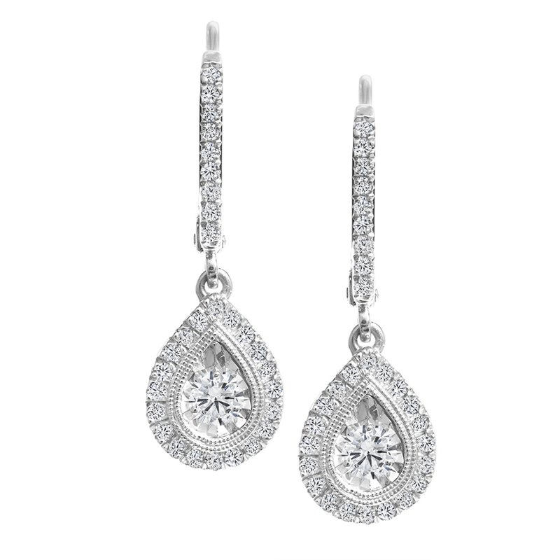 Canadian Rocks Pear Design Diamond Accent Drop Earrings